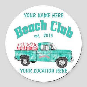 Flamingo Beach Club Round Car Magnet