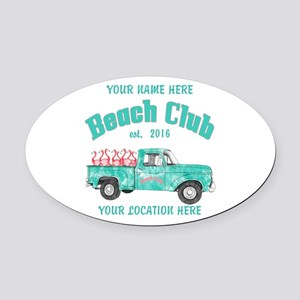 Flamingo Beach Club Oval Car Magnet
