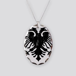 albania_eagle_distressed Necklace Oval Charm