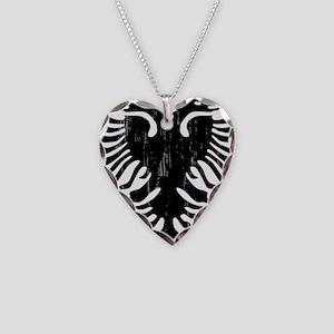 albania_eagle_distressed Necklace Heart Charm