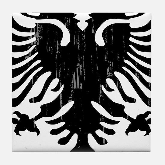 albania_eagle_distressed.png Tile Coaster