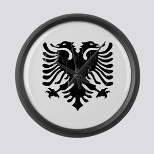albania_eagle_distressed Large Wall Clock