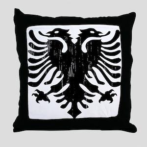 albania_eagle_distressed Throw Pillow