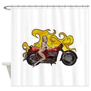 Motorcycle Tattoo Shower Curtains
