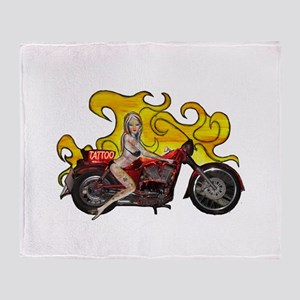 Tattoo pinup girl on a motorcycle Throw Blanket
