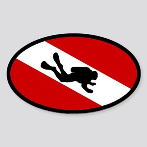 Diver Down Flag Diver Oval Sticker
