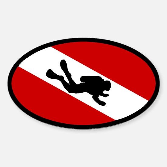 Diver Down Flag Diver Oval Decal