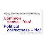 Yes-To-Common-Sense Sticker (rectangle 10 Pk)