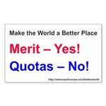 Yes-To-Merit No-To-Quota Sticker (rectangle 10 Pk)