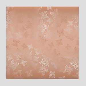 Rose Gold Butterflies Pattern Tile Coaster