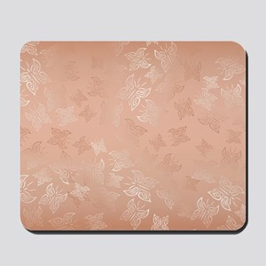 Rose Gold Butterflies Pattern Mousepad