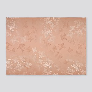 Rose Gold Butterflies Pattern 5'x7'Area Rug