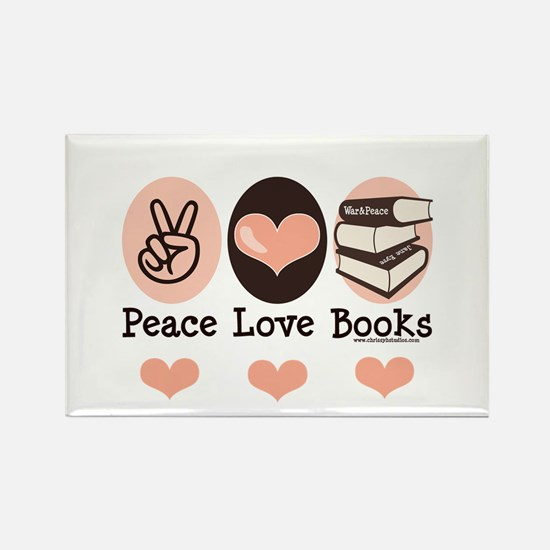 Peace Love Books Book Lover Rectangle Magnet