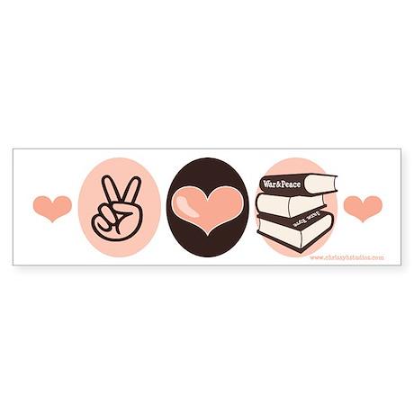 Peace Love Books Book Lover Bumper Sticker