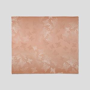 Rose Gold Butterflies Pattern Throw Blanket
