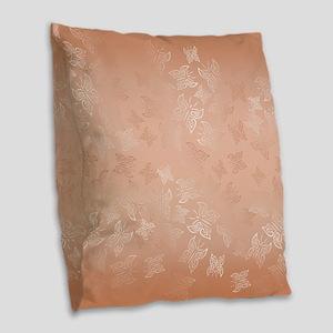 Rose Gold Butterflies Pattern Burlap Throw Pillow