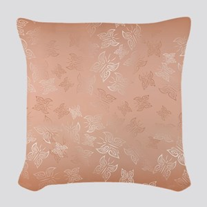 Rose Gold Butterflies Pattern Woven Throw Pillow