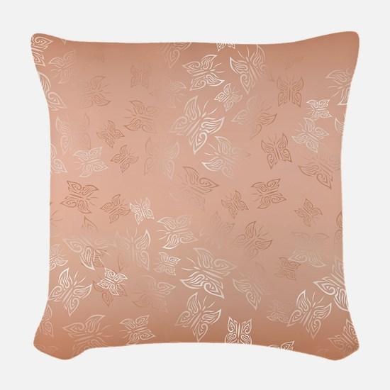 Rose Gold Butterflies Pattern Woven Throw Pillow