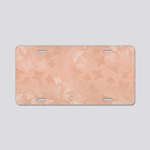 Rose Gold Butterflies Patte Aluminum License Plate
