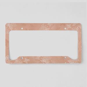 Rose Gold Butterflies Pattern License Plate Holder