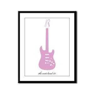 Anti Pink Guitar Framed Panel Print