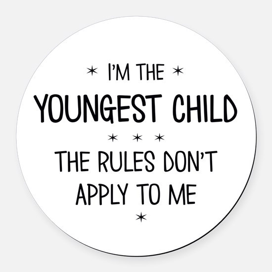 YOUNGEST CHILD 3 Round Car Magnet