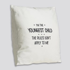 YOUNGEST CHILD 3 Burlap Throw Pillow