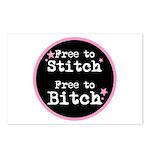 Free to Stitch - Free to Bitch Postcards (8pk)