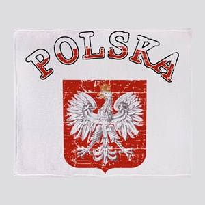polska flag Throw Blanket