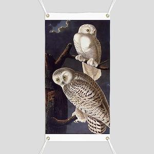 White Snowy Owls Vintage Audubon Wildlife Banner