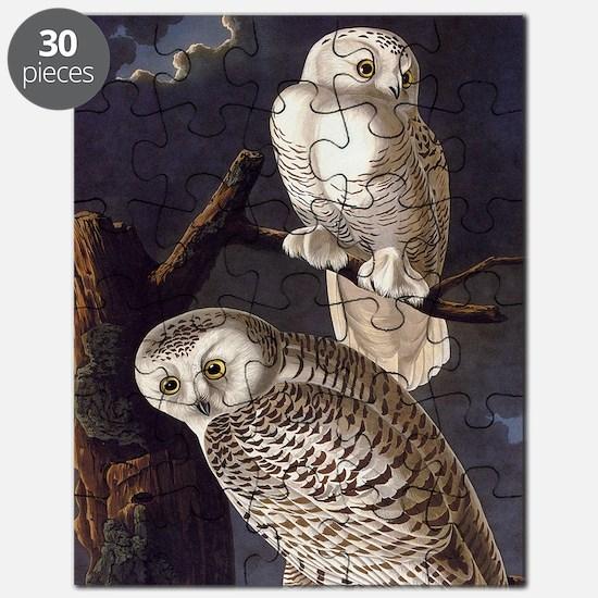 White Snowy Owls Vintage Audubon Wildlife Puzzle
