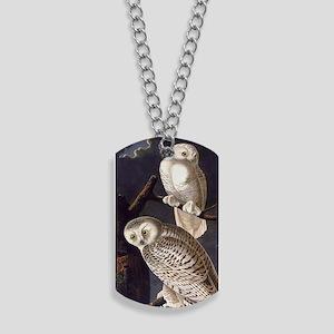 White Snowy Owls Vintage Audubon Wildlife Dog Tags