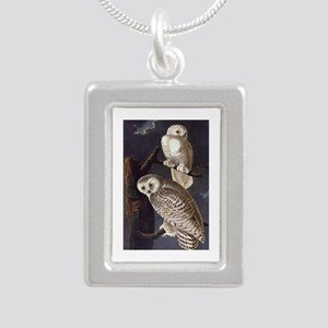 White Snowy Owls Vintage Audubon Wildlife Necklace
