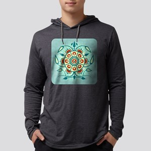 Blue Floral Abstract Design Long Sleeve T-Shirt
