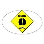 Bison Crossing Oval Sticker