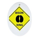 Bison Crossing Oval Ornament