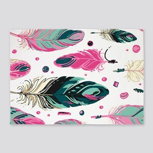 Colorful Feathers 5'x7'Area Rug