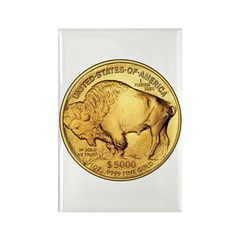 Gold Buffalo Rectangle Magnet