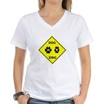 Dog Crossing Women's V-Neck T-Shirt