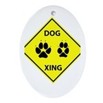 Dog Crossing Oval Ornament