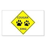 Cougar Mountain Lion Crossing Sticker (Rectangular