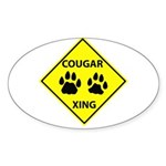 Cougar Mountain Lion Crossing Oval Sticker
