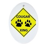 Cougar Mountain Lion Crossing Oval Ornament