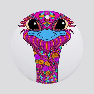 Crazy Bird Round Ornament