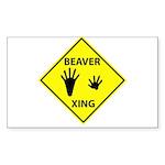 Beaver Crossing Rectangle Sticker