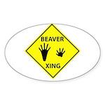 Beaver Crossing Oval Sticker
