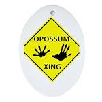 Opossum Crossing Ornament (Oval)