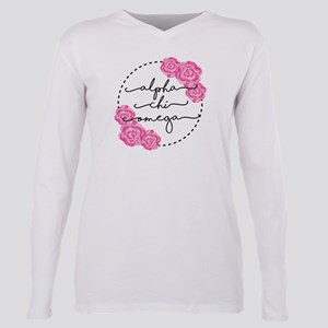 Alpha Chi Omega Floral C Plus Size Long Sleeve Tee