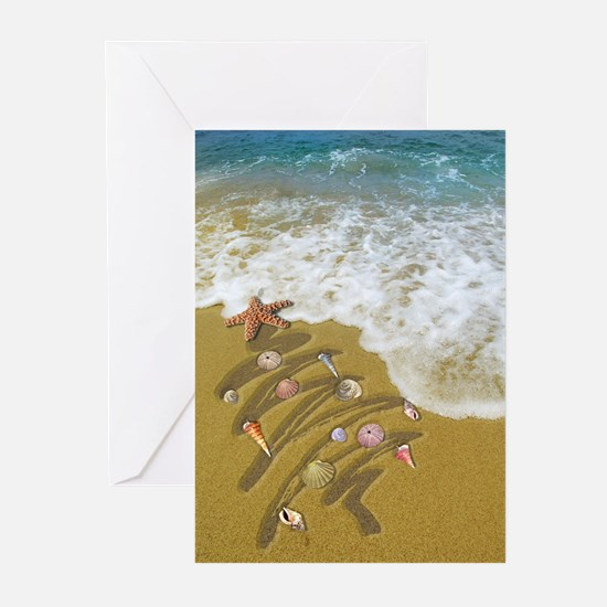 Christmas Seashells and Tree Washed Greeting Cards