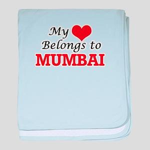 My heart belongs to Mumbai India baby blanket